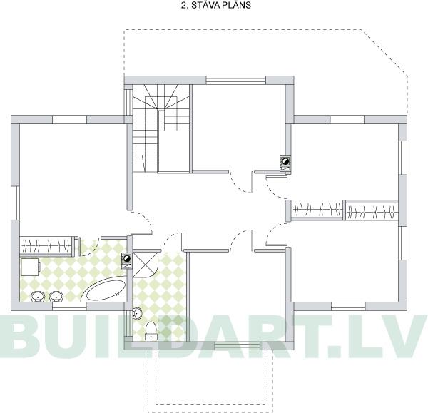 Savrupmājas projekts, māja 3 paaudzēm - 2. stāva plāns