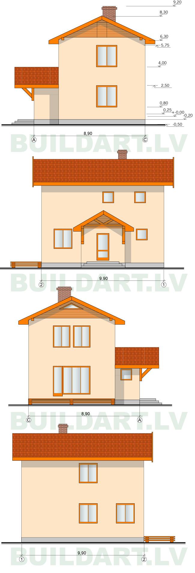 Ekonomiskas, ērtas divstāvu mājas projekts 110kvm, fasādes