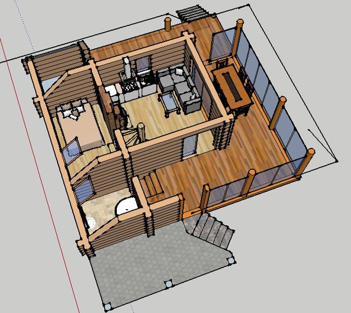 3D interjers atpūtas mājas projektam
