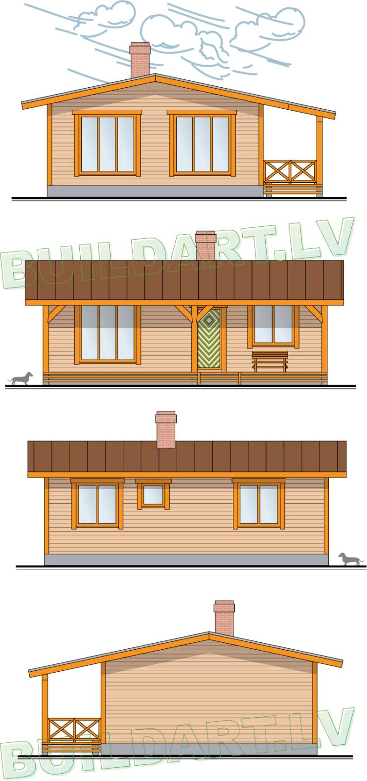 """Māja pie upes, projekts - """"Namiņš jaunai ģimenei"""", fasādes"""