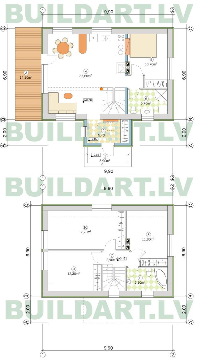 Ekonomiskas, ērtas divstāvu mājas projekts 110kvm, plāns
