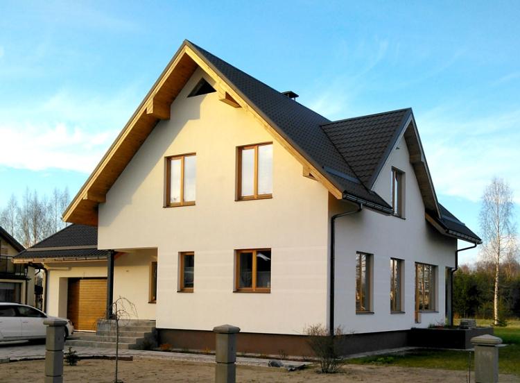 """Dzīvojamās mājas projekts """"Dina"""", uzbūvētās mājas attēli"""