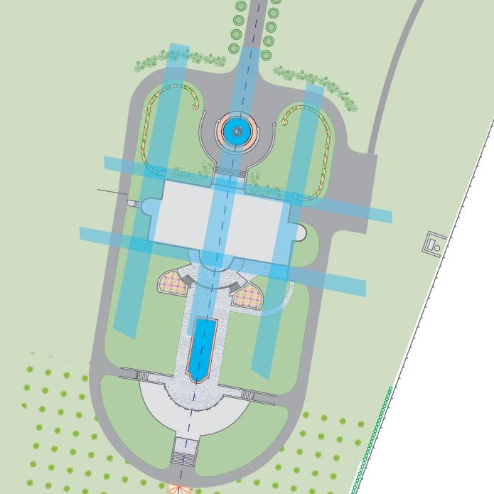 Villas ādreu plāns - ēka veiksmīgi novietota āderēs, tikai viena ūdens ādere šķērso samērā lielo ēku
