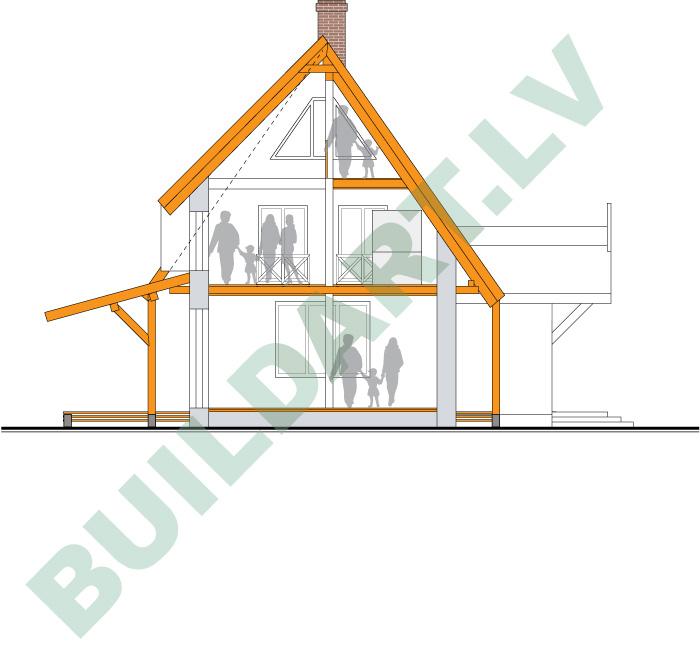 Salmu mājas projekts Rožkalnos, šķērsgriezums