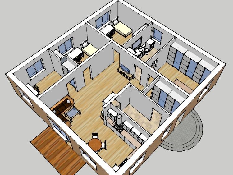 """Mājas projekts """"Artūrs"""", trīsdimensiju interjera vizualizācijas"""