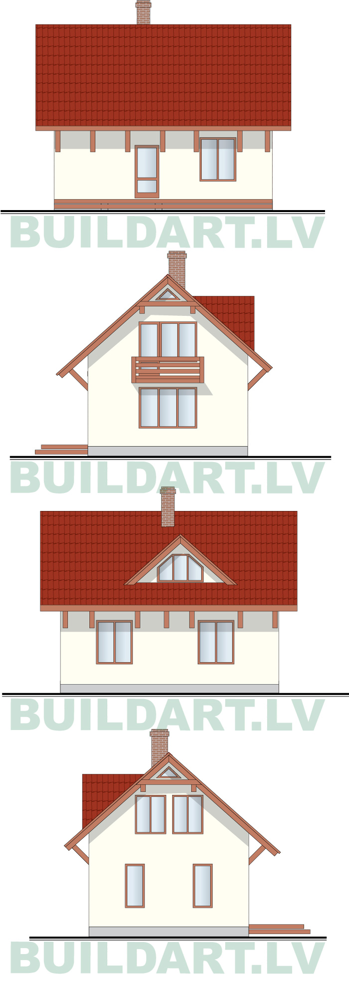 """Brīvdienu mājas projekts """"Uvis"""", ēkas fasādes"""