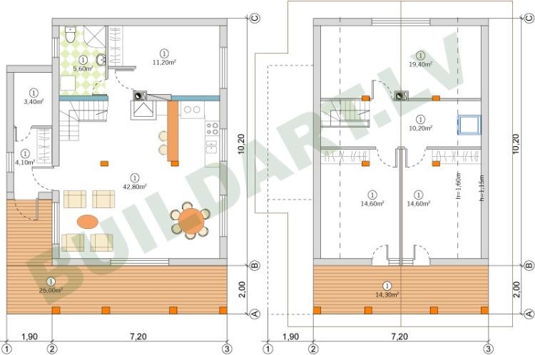 Mājas projekts, 125m2 (5-6ģimenes locekļiem)