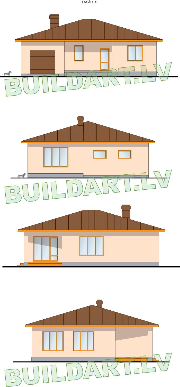 """Vienstāvīgas dzīvojamās mājas projekts """"Normunds"""", ēkas fasādes"""