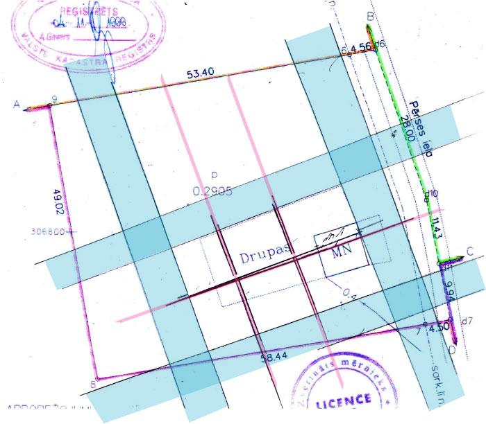 Āderu noteikšana, āderu plāns zemes gabalam Mārupē, Pērses ielā