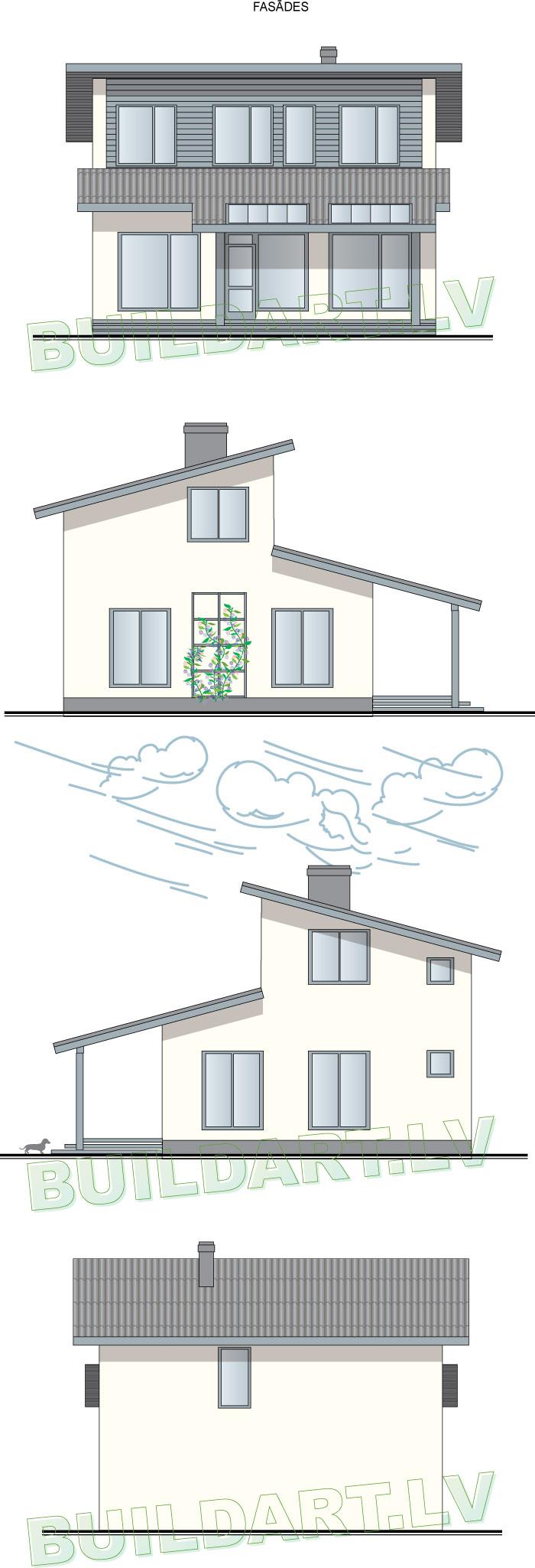 """Brīvdienu mājas projekts """"Strazds"""" - fasādes"""