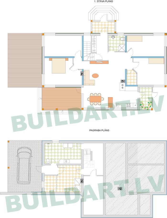 """Vienstāvīgas mājas projekts """"Anita"""" - plāni"""
