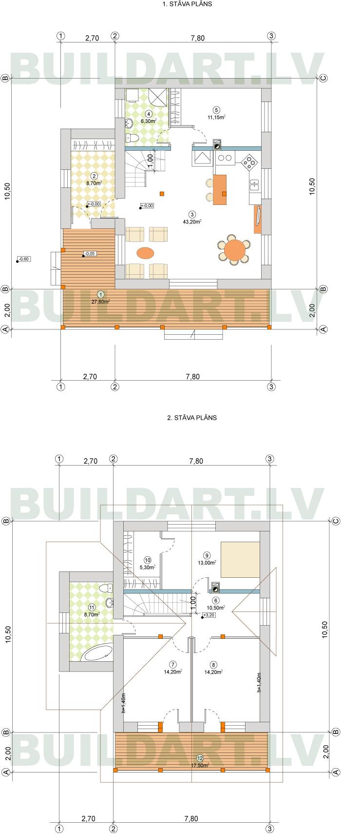"""Mājas projekts """"Viktors"""" 135kvm, plāni"""