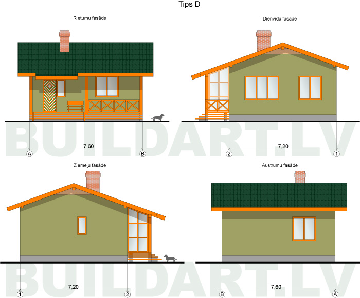 Mazas mājiņas projekts - namiņš vecākiem, fasāžu versijas