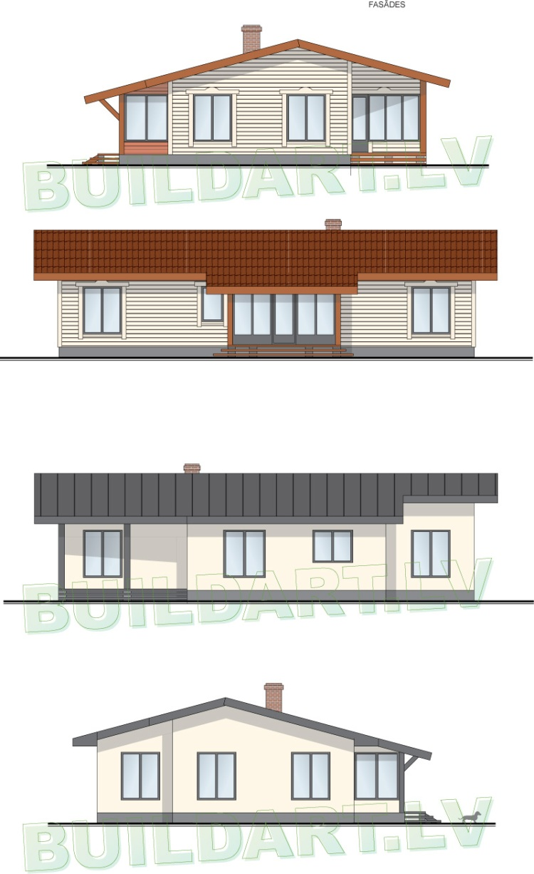 """projektsandris_02Dzīvojamā māja vienā stāvā - projekts """"Andris"""" - fasāžu divas versijas"""