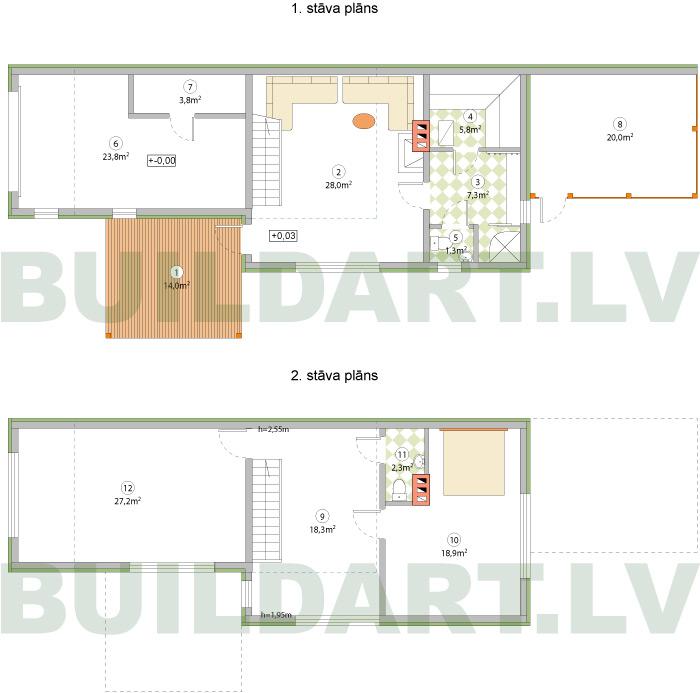 Saimniecības ēkas projekts - stāvu plāni