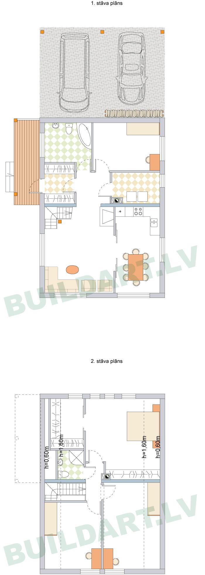 """Ekonomiskas ģimenes mājas projekts """"Aldis LUX"""" stāvu plāni"""