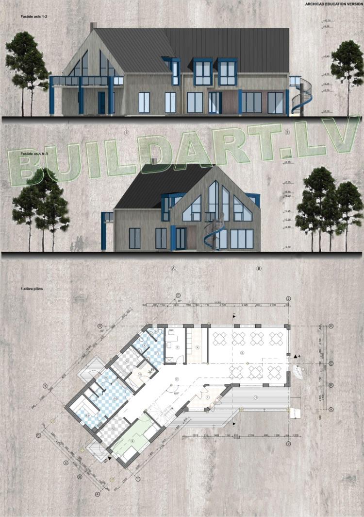 Viesu nama projekts, projekta fasādes un plāni