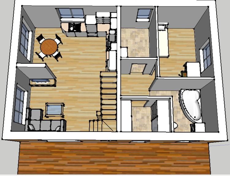 """Mājas projekta """"Aldis LUX"""" trīsdimensiju interjera vizualizācijas"""