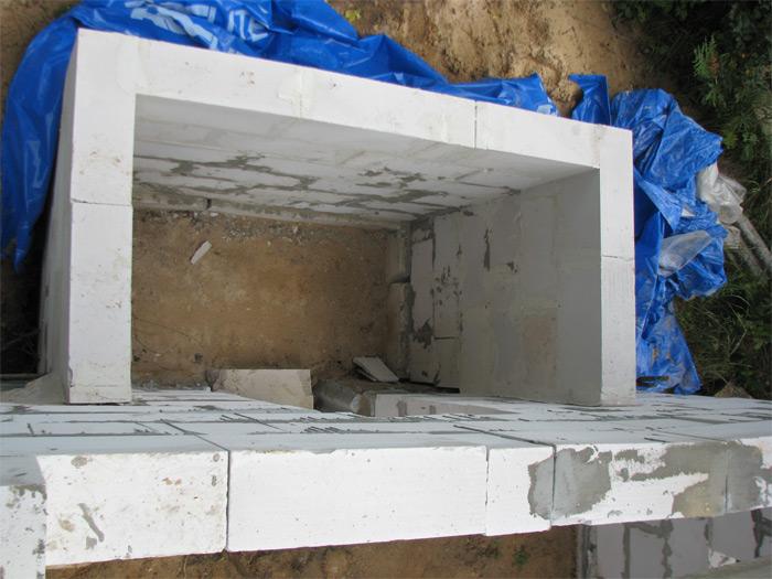 Ekonomisks pagrabs izbūvējams pie saimniecības ēkas, virsskats