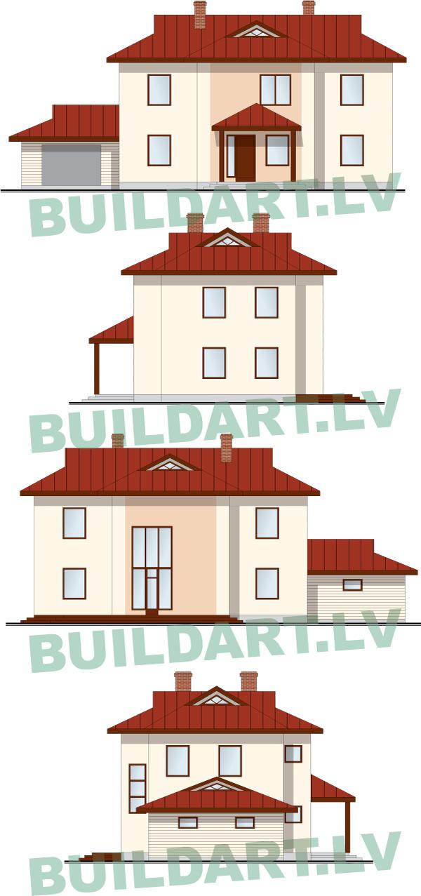 Savrupmājas projekts, māja 3 paaudzēm - fasādes