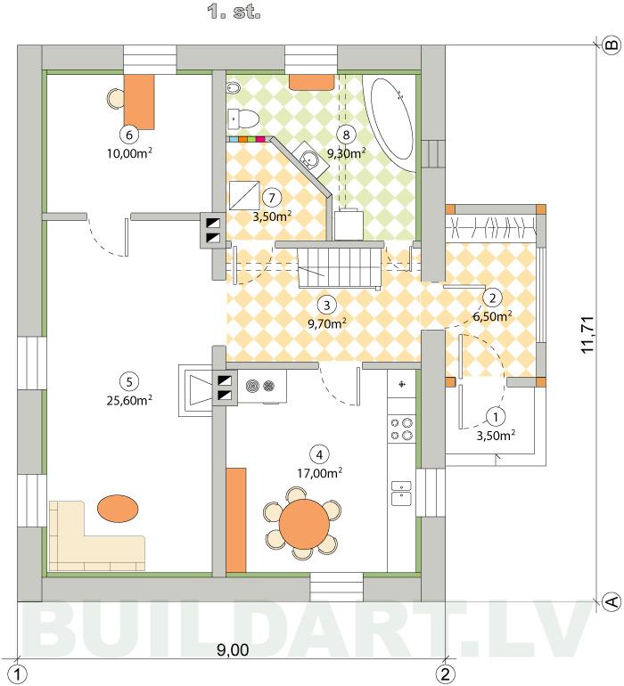 mājas rekonstrukcijas projekts, 1. stāva plāns