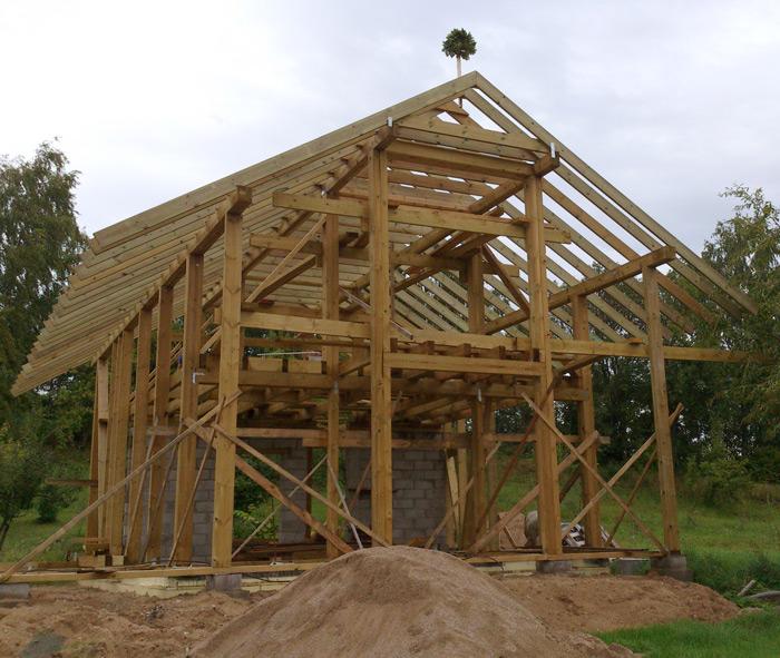 Pirts projekts, koka statņu konstrukcijas ēka, būvniecības procesa bildes