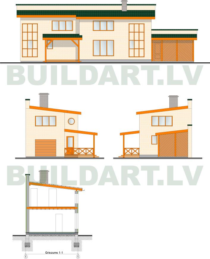 Saimniecības ēkas projekts - fasādes un griezums