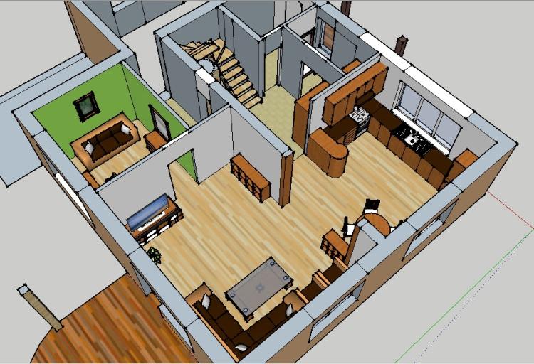 Dzīvojamās mājas interjers, interjera trīsdimensiju vizualizācija