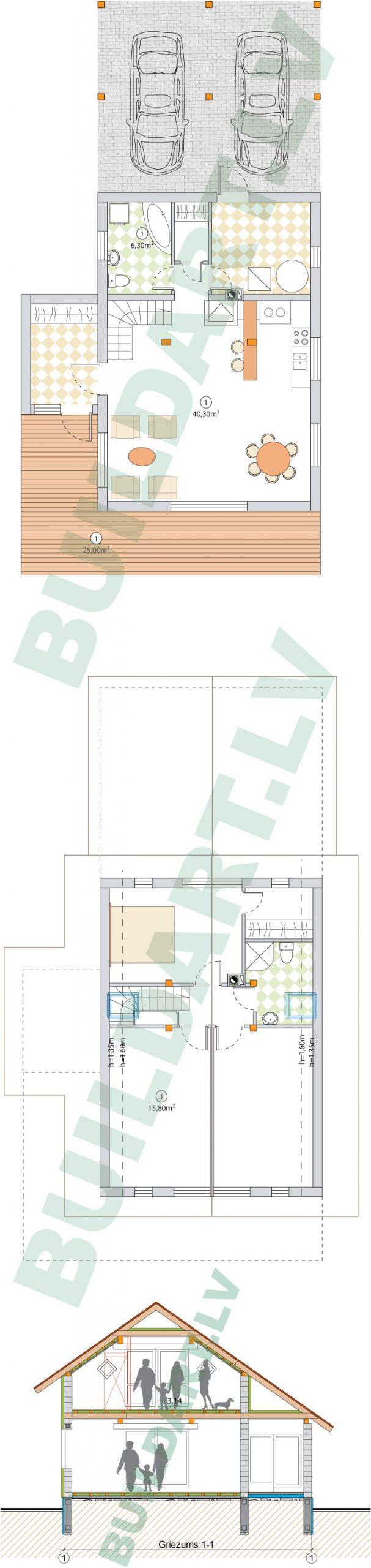 """dzīvojamās mājas projekts """"Rita 2"""" plāni"""