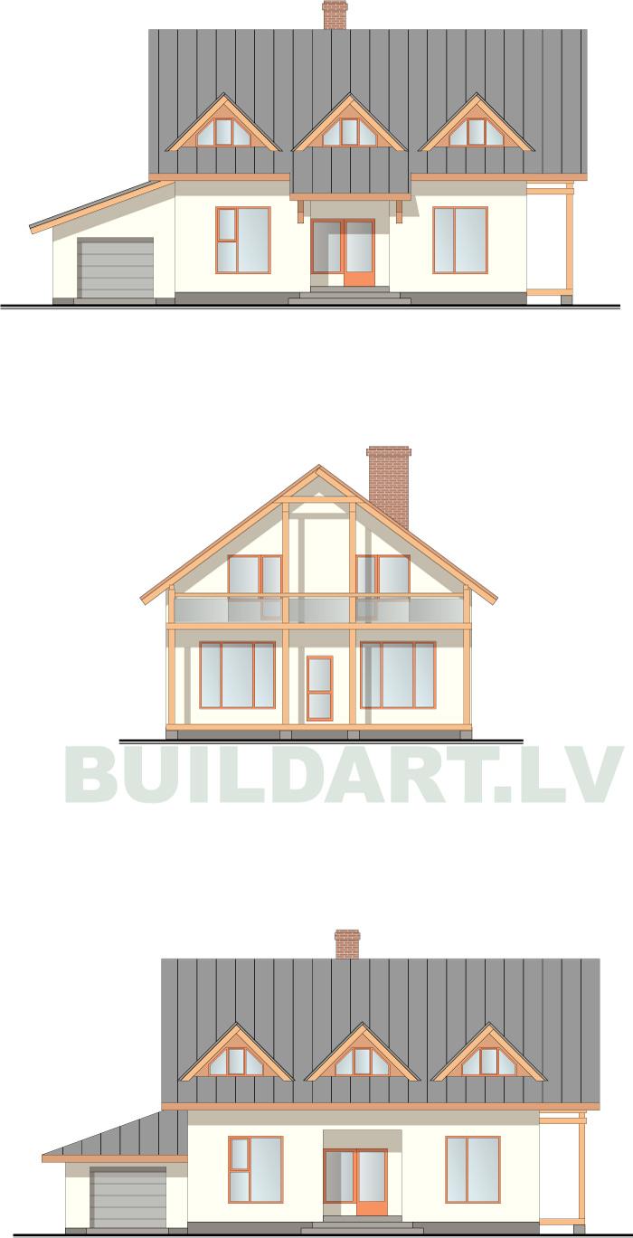 """Mājas projekts """"Aleksis"""", pilnā versija (180 kvadrātmetri)"""