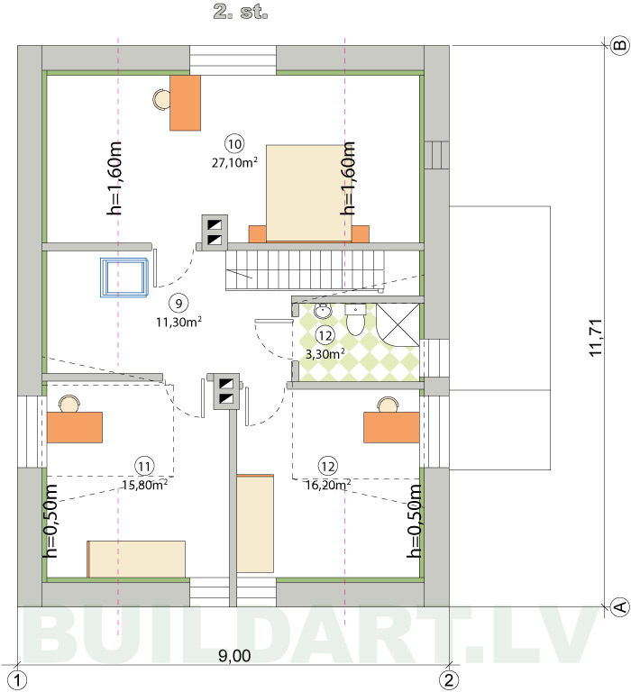 mājas rekonstrukcijas projekts, 2. stāva plāns