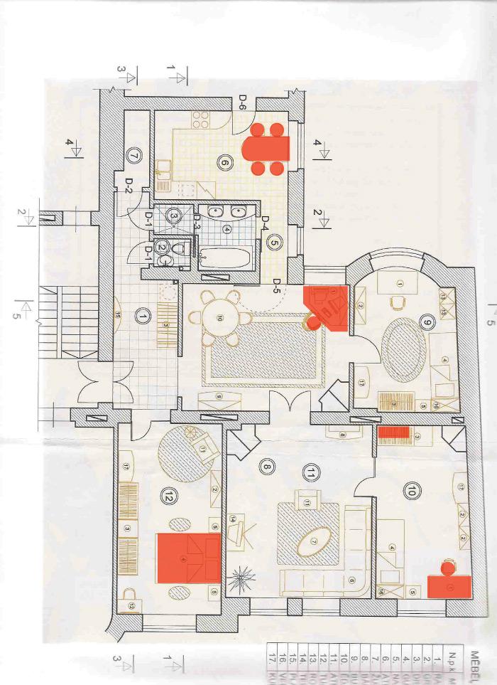 Dzīvokļa plāns pēc āderu noteikšanas - bīstamās dzīvošanas vietas