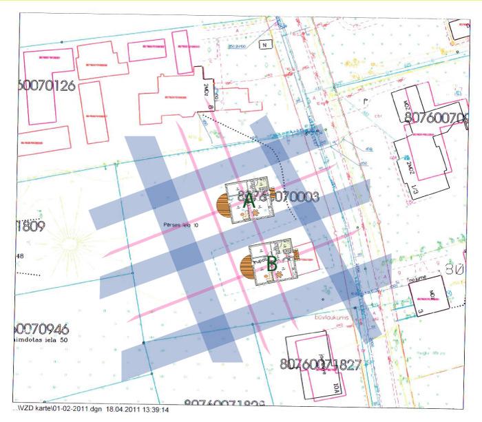 Āderu plāns zemes gabalam Mārupē, ar ēkas novietojuma variantiem