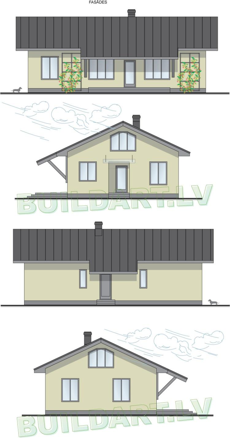 """Mājas projekts - """"Māja četriem"""", fasādes"""