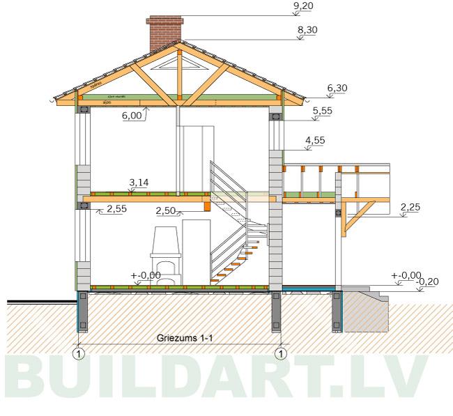 Ekonomiskas, ērtas divstāvu mājas projekts 110kvm, griezums