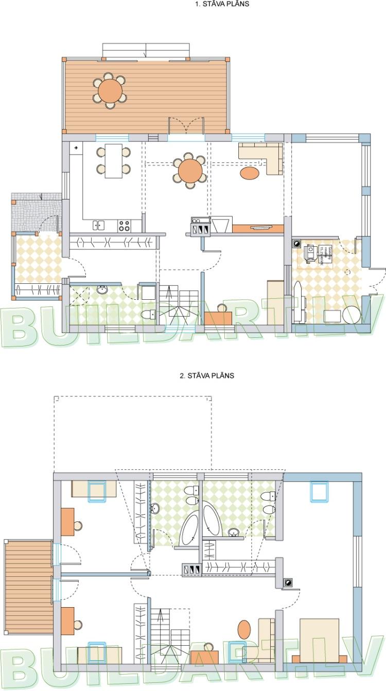Dzīvojamās mājas rekonstrukcijas projekts - stāvu plāni
