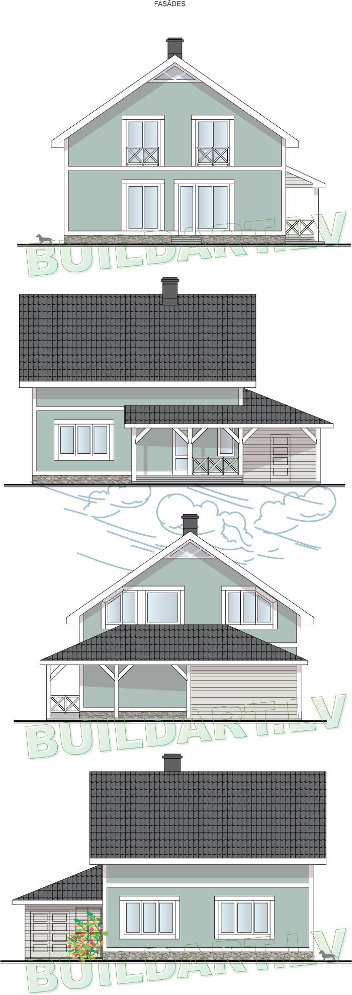 """Dzīvojamās mājas projeks """"Agris"""" - jaunā versija, fasādes"""