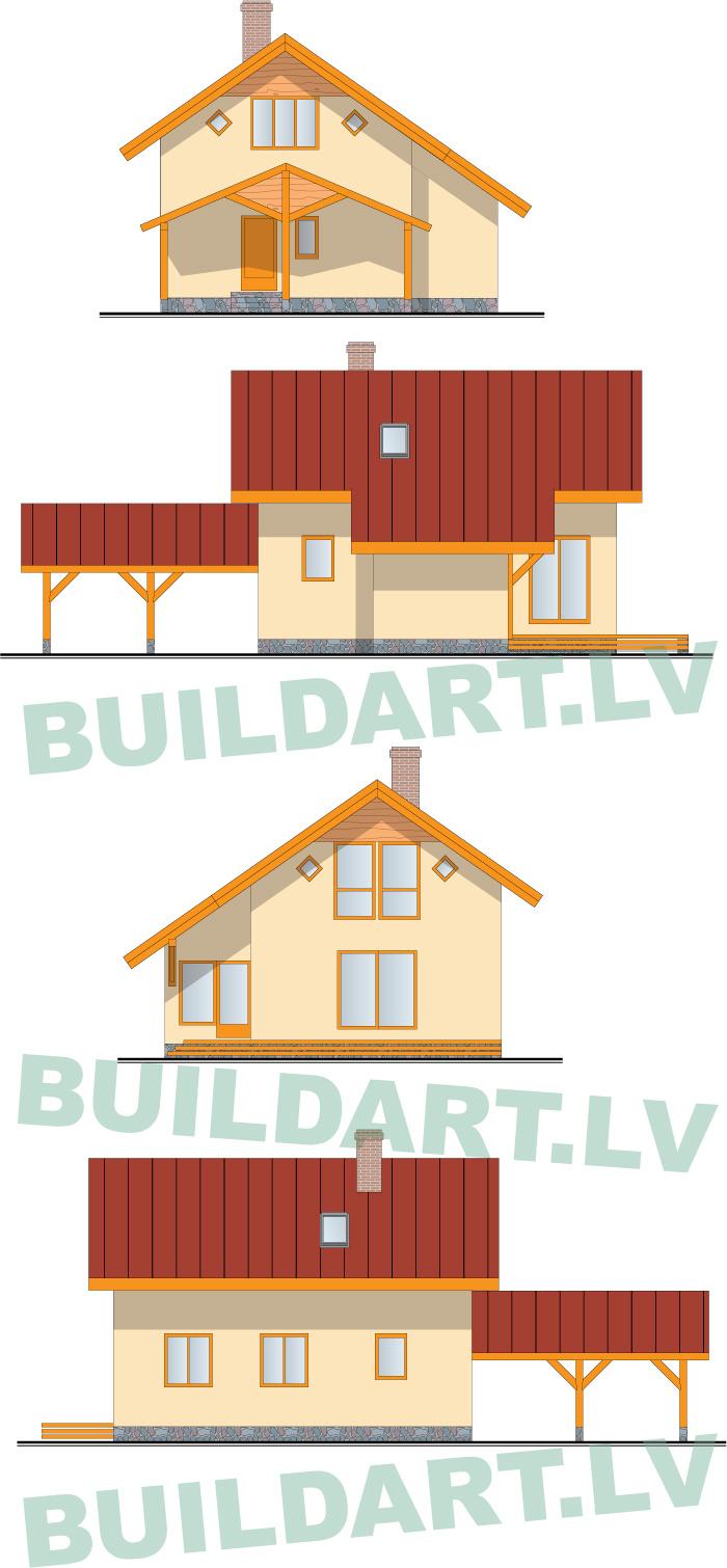 """dzīvojamās mājas projekts """"Rita 2"""" fasādes"""