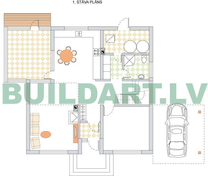"""Mājas projekts """"Kristīne"""", plāna versija ar stiklotu oranžēriju"""