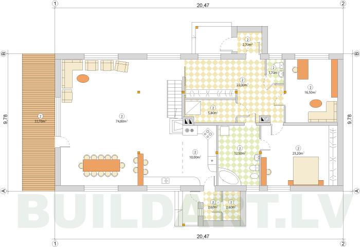 Esošas ēkas rekonstrukcijas projekts, pirmā stāva plāns