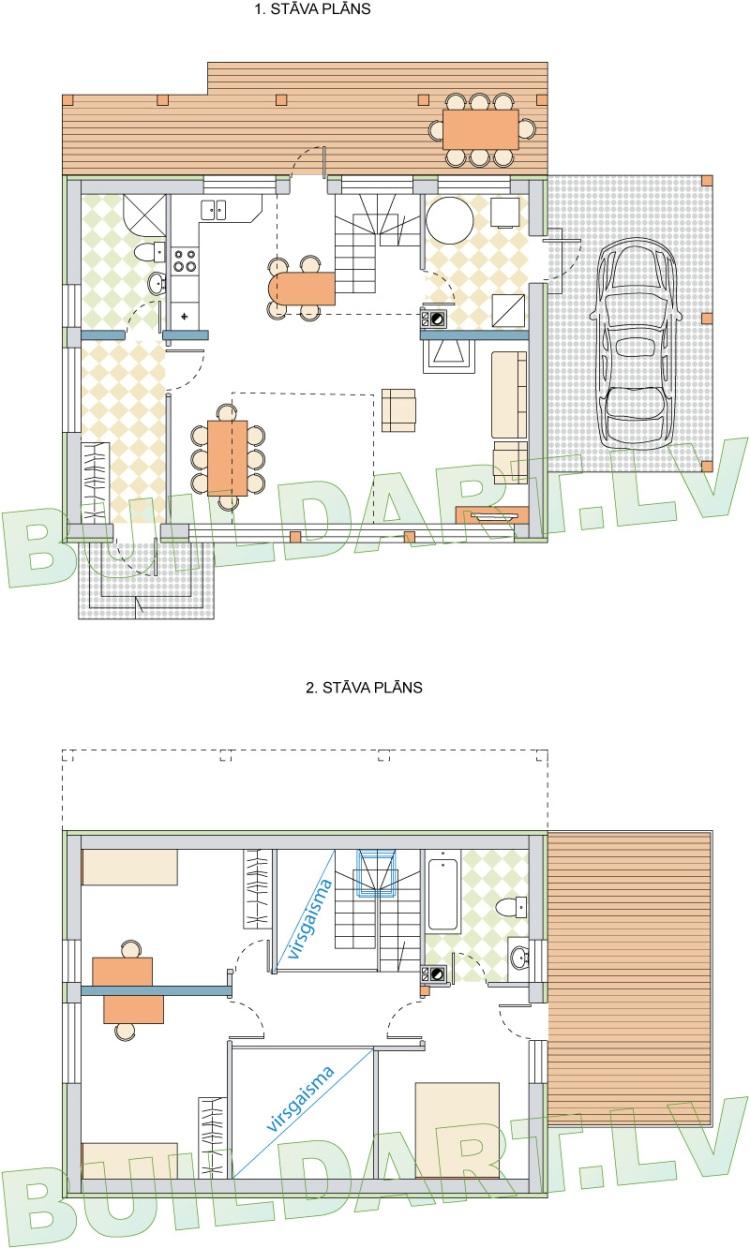 """Brīvdienu mājas projekts """"Agita"""" - plāni"""
