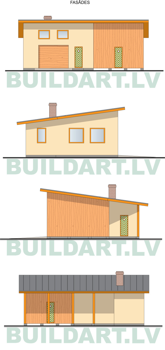 Saimniecības ēkas projekts, saimniecības ēka automehāniķim, fasādes