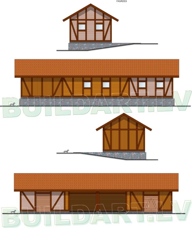 Saimniecības ēkas projekts lauku sētai, fasādes