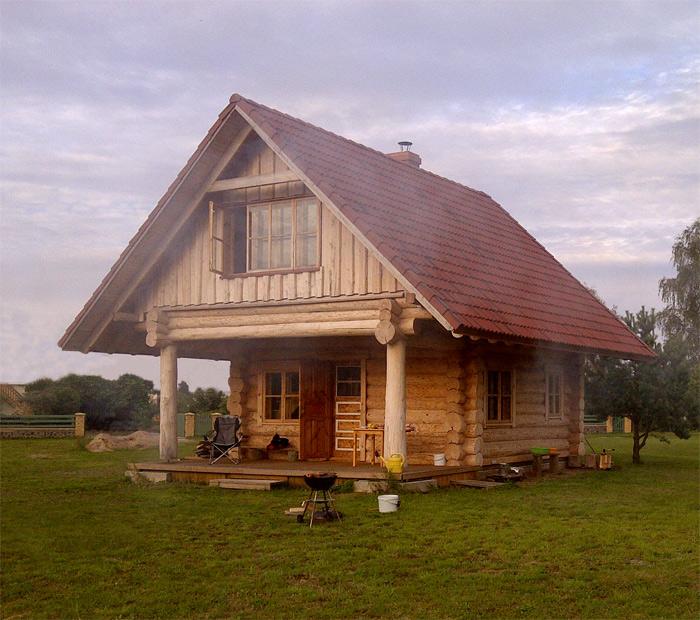 Guļbaļķu pirts projekts, realizētās ēkas attēli, fasādes