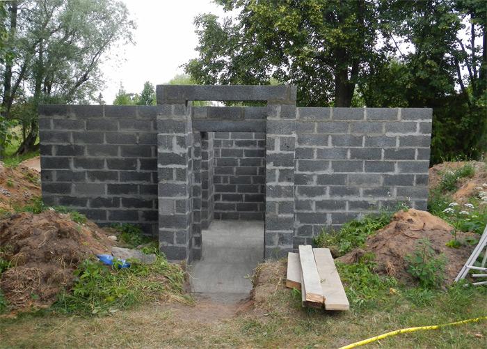 Pagraba projekts - būvniecības process, sienas