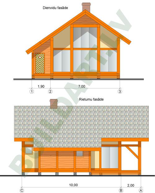 Dzīvojamās mājas projekts ar plašu stiklojumu un galeriju 125m2