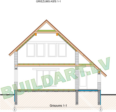 """Dzīvojamās mājas projekts """"Rita 3"""", shematisks griezums"""