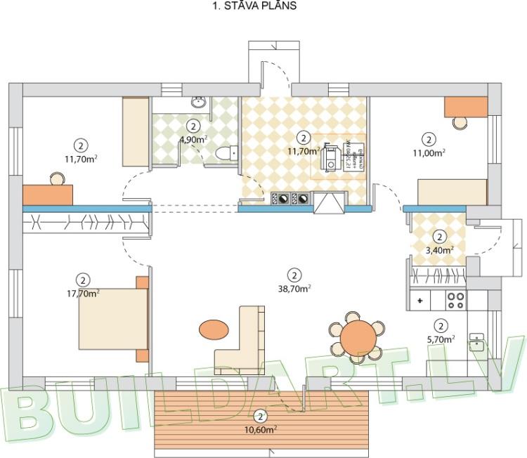 """Mājas projekts - """"Māja četriem"""", plānojums"""