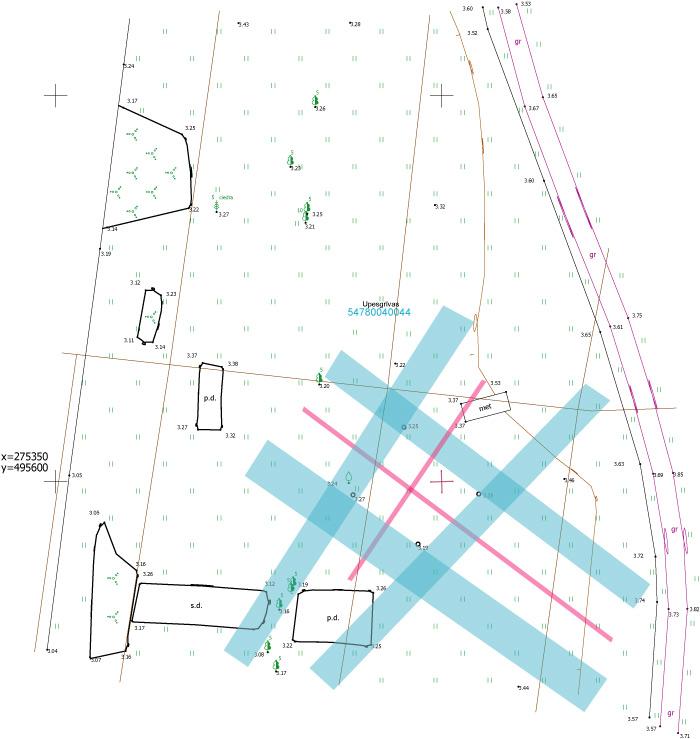 Āderu plāns, āderu noteikšana zemes gabalam Upesgrīvas, Garoza