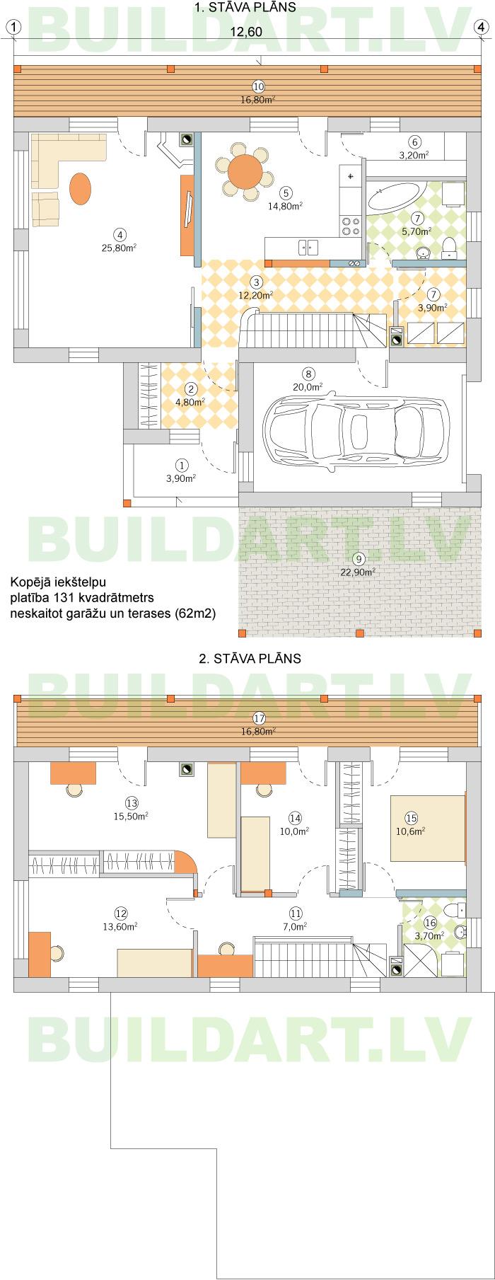 """Tipveida projekts """"Ojārs"""" divstāvu ekonomiska ēka 131kvm, plāni"""